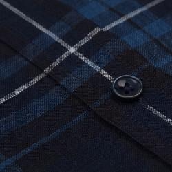 Germirli Mavi Lacivert Kareli Indigo Keten Düğmeli Yaka Tailor Fit Gömlek - Thumbnail