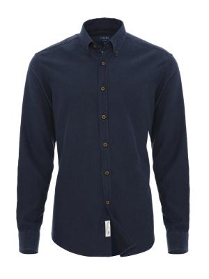 Germirli - Germirli Mavi Lacivert Puanlı Flanel Tailor Fit Gömlek