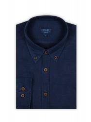 Germirli Mavi Lacivert Puanlı Flanel Tailor Fit Gömlek - Thumbnail