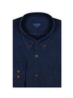 Germirli - Germirli Mavi Lacivert Puanlı Flanel Tailor Fit Gömlek (1)