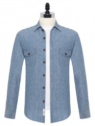 Germirli - Germirli Mavi Melange Delave Keten Tailor Fit Ceket Gömlek