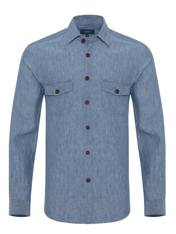 Germirli - Germirli Mavi Melange Delave Keten Tailor Fit Ceket Gömlek (1)
