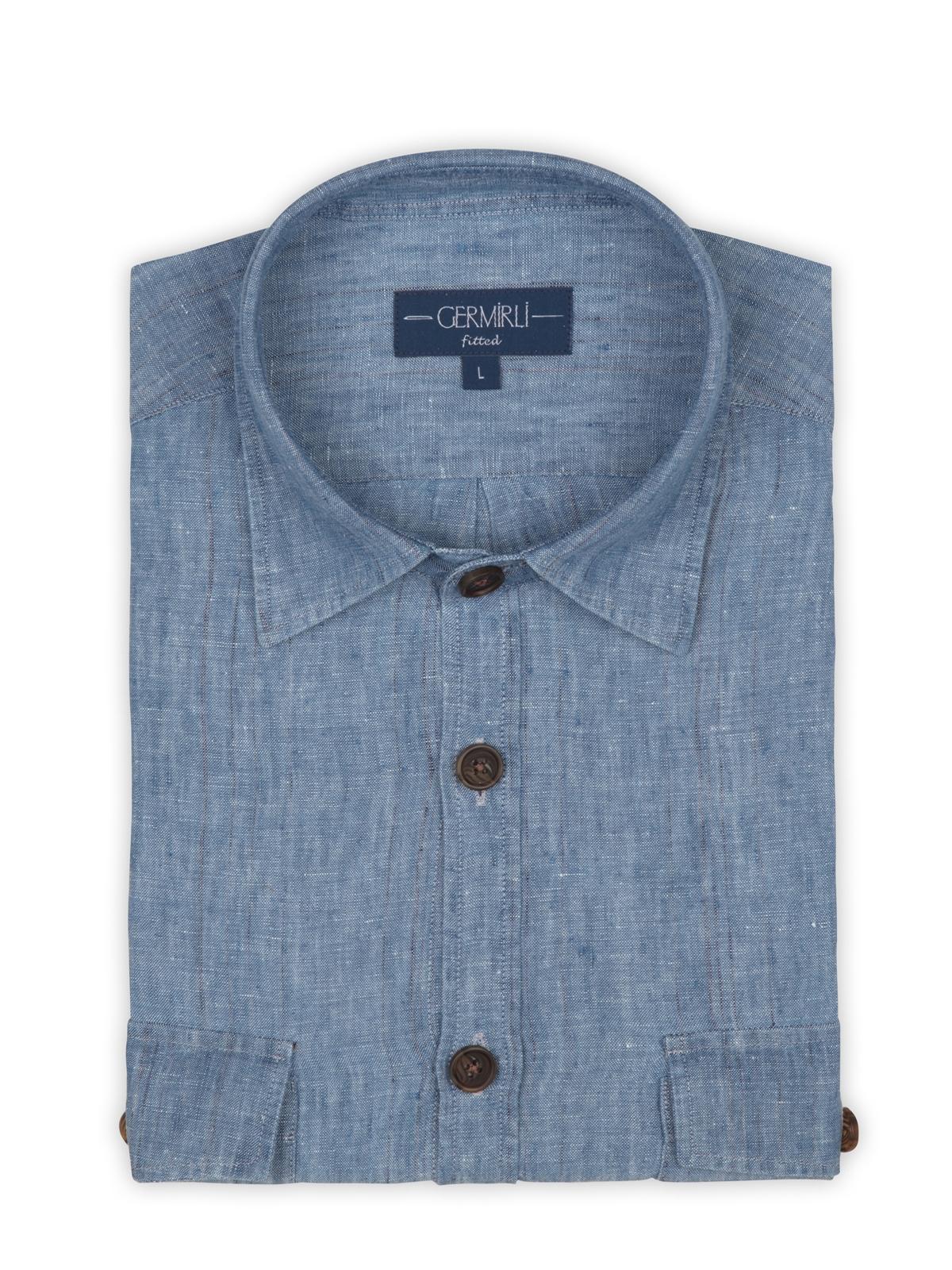 Germirli Mavi Melange Delave Keten Tailor Fit Ceket Gömlek