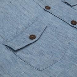 Germirli Mavi Melange Delave Keten Tailor Fit Ceket Gömlek - Thumbnail