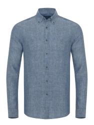 Germirli - Germirli Mavi Melange Indigo Keten Düğmeli Yaka Tailor Fit Gömlek
