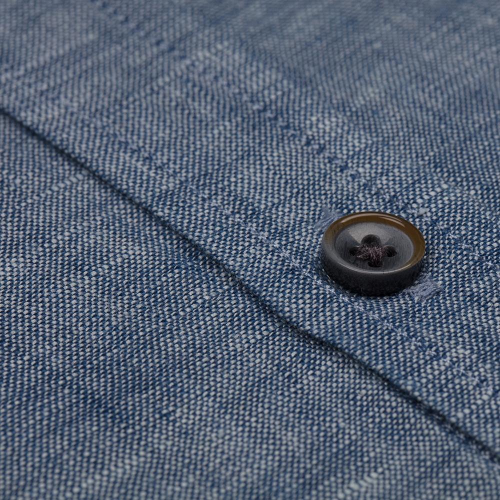 Germirli Mavi Melange Indigo Keten Düğmeli Yaka Tailor Fit Gömlek
