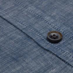 Germirli Mavi Melange Indigo Keten Düğmeli Yaka Tailor Fit Gömlek - Thumbnail