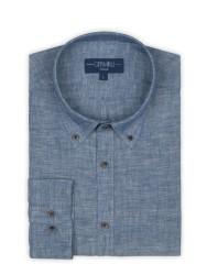 Germirli - Germirli Mavi Melange Indigo Keten Düğmeli Yaka Tailor Fit Gömlek (1)