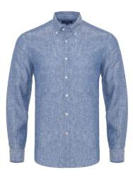 Germirli - Germirli Mavi Melange Keten Düğmeli Yaka Tailor Fit Gömlek