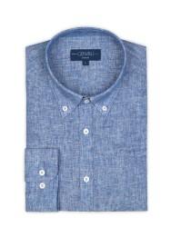 Germirli - Germirli Mavi Melange Keten Düğmeli Yaka Tailor Fit Gömlek (1)