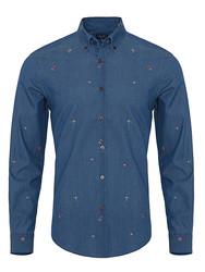 Germirli Mavi Nakışlı Düğmeli Yaka Indigo Tailor Fit Gömlek - Thumbnail