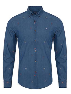Germirli Mavi Nakışlı Düğmeli Yaka Indigo Tailor Fit Gömlek