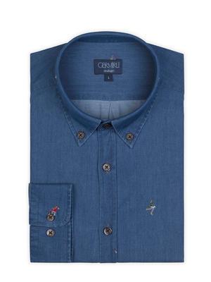 Germirli - Germirli Mavi Nakışlı Düğmeli Yaka Indigo Tailor Fit Gömlek (1)