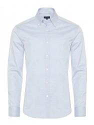 Germirli Mavi Oxford Düğmeli Yaka Tailor Fit Gömlek - Thumbnail