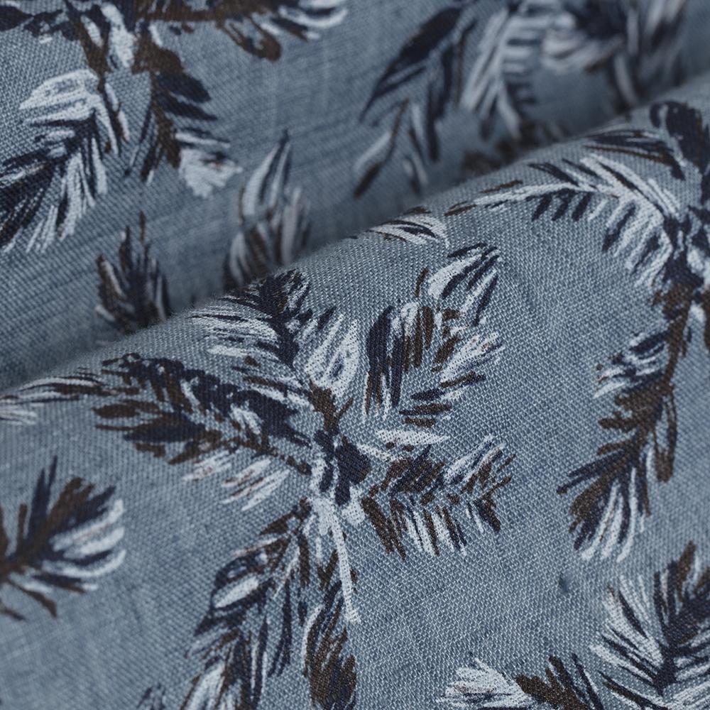 Germirli Mavi Palmiye Desenli Delave Keten Düğmeli Yaka Tailor Fit Gömlek