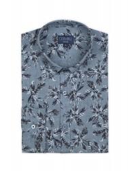 Germirli Mavi Palmiye Desenli Delave Keten Düğmeli Yaka Tailor Fit Gömlek - Thumbnail