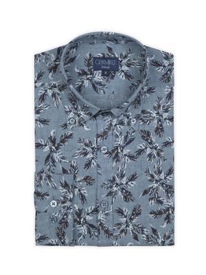 Germirli - Germirli Mavi Palmiye Desenli Delave Keten Düğmeli Yaka Tailor Fit Gömlek (1)