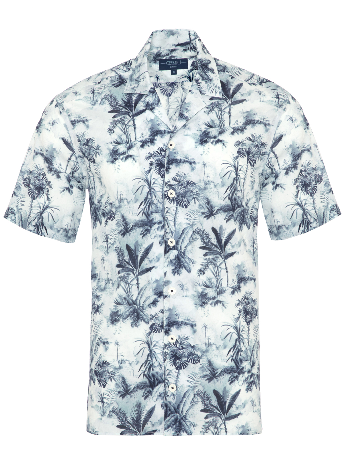 Germirli - Germirli Mavi Palmiye Desenli Hawaii Kısa Kollu Tailor Fit Gömlek