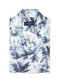 Germirli - Germirli Mavi Palmiye Desenli Hawaii Kısa Kollu Tailor Fit Gömlek (1)