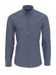 Germirli - Germirli Mavi Pamuk Keten Düğmeli Yaka Tailor Fit Gömlek