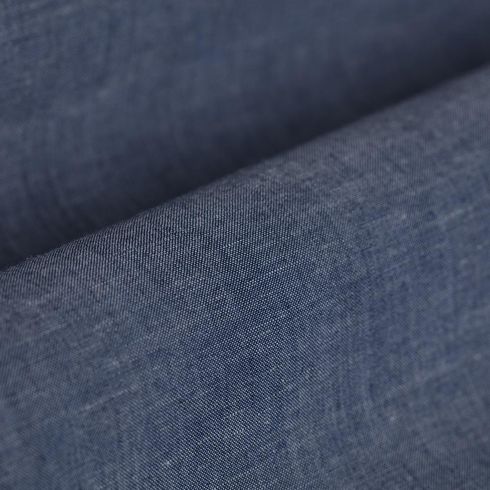 Germirli Mavi Pamuk Keten Düğmeli Yaka Tailor Fit Gömlek