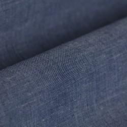 Germirli Mavi Pamuk Keten Düğmeli Yaka Tailor Fit Gömlek - Thumbnail