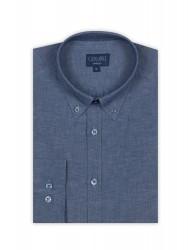 Germirli - Germirli Mavi Pamuk Keten Düğmeli Yaka Tailor Fit Gömlek (1)