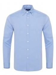 Germirli - Germirli Mavi Panama Dokulu Düğmeli Yaka Tailor Fit Gömlek