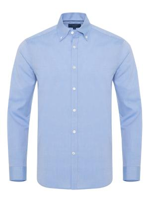 Germirli Mavi Panama Dokulu Düğmeli Yaka Tailor Fit Gömlek