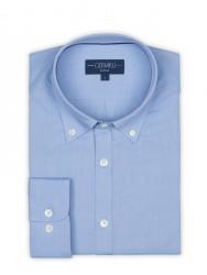 Germirli - Germirli Mavi Panama Dokulu Düğmeli Yaka Tailor Fit Gömlek (1)