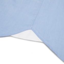 Germirli Mavi Panama Dokulu Düğmeli Yaka Tailor Fit Gömlek - Thumbnail