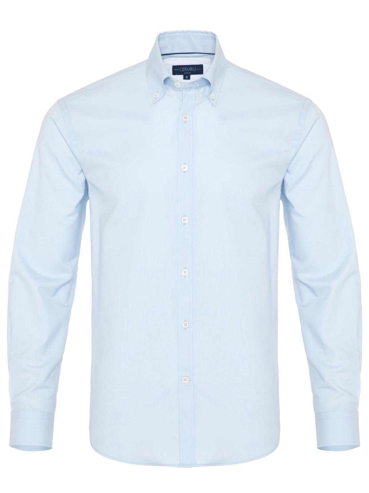 Germirli Mavi Panama Düğmeli Yaka Tailor Fit Gömlek