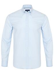 Germirli - Germirli Blue Panama Button Down Collar Tailor Fit Shirt