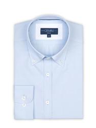 Germirli - Germirli Mavi Panama Düğmeli Yaka Tailor Fit Gömlek (1)