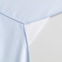 Germirli Mavi Panama Düğmeli Yaka Tailor Fit Gömlek - Thumbnail
