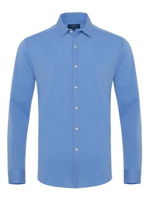 Germirli Mavi Soft Yaka Örme Tailor Fit Gömlek