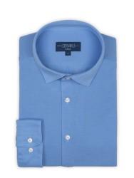 Germirli - Germirli Mavi Soft Yaka Örme Tailor Fit Gömlek (1)