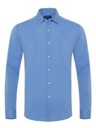 Germirli - Germirli Mavi Soft Yaka Örme Tailor Fit Gömlek