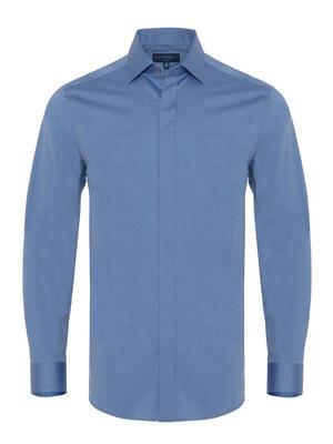Germirli - Germirli Mavi Twill Doku Gizli Pat Tailor Fit Gömlek