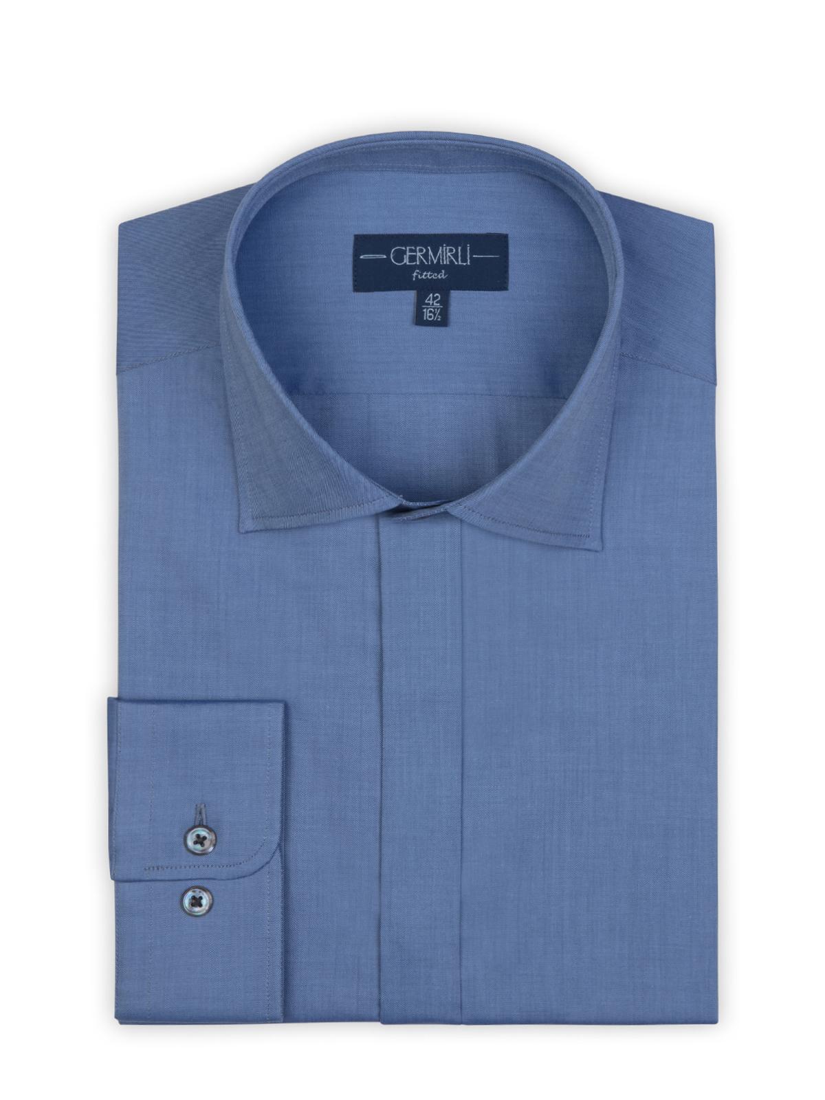 Germirli Mavi Twill Doku Gizli Pat Tailor Fit Gömlek