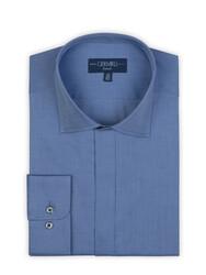 Germirli - Germirli Mavi Twill Doku Gizli Pat Tailor Fit Gömlek (1)