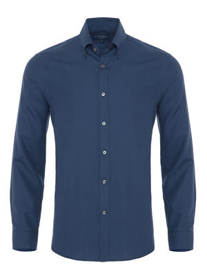 Germirli - Germirli Mavi Twill Düğmeli Yaka Tailor Fit Kaşmir Gömlek