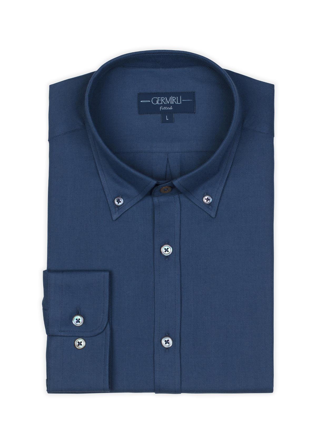 Germirli Mavi Twill Düğmeli Yaka Tailor Fit Kaşmir Gömlek