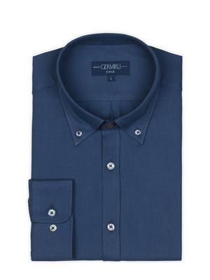 Germirli - Germirli Mavi Twill Düğmeli Yaka Tailor Fit Kaşmir Gömlek (1)