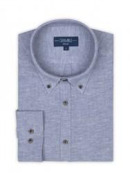 Germirli - Germirli Mavi Twill Keten Pamuk Düğmeli Yaka Tailor Fit Gömlek (1)