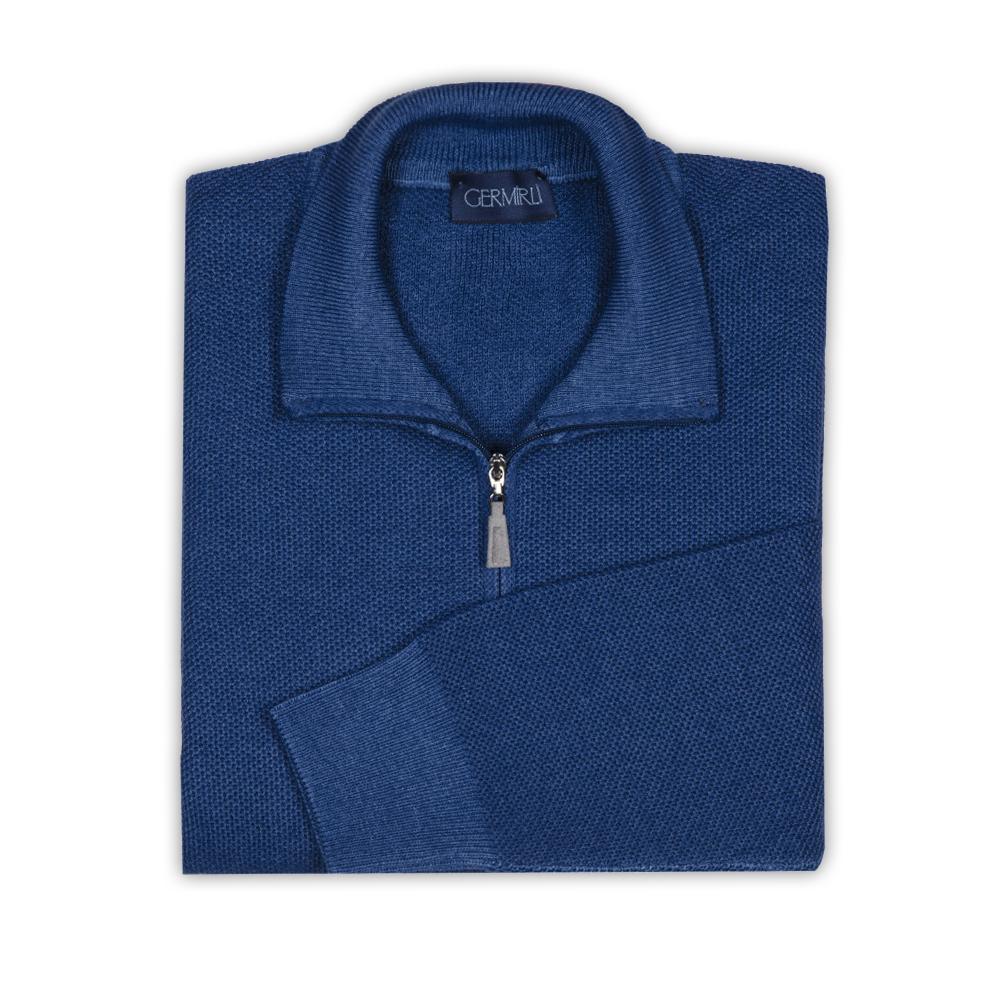 Germirli Mavi Vintage Petek Doku Fermuarlı Yaka Extra Fine Merino Yün Triko