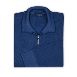 Germirli Mavi Vintage Petek Doku Fermuarlı Yaka Extra Fine Merino Yün Triko - Thumbnail