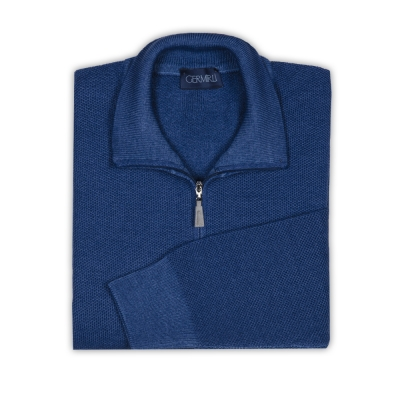 Germirli - Germirli Mavi Vintage Petek Doku Fermuarlı Yaka Extra Fine Merino Yün Triko (1)