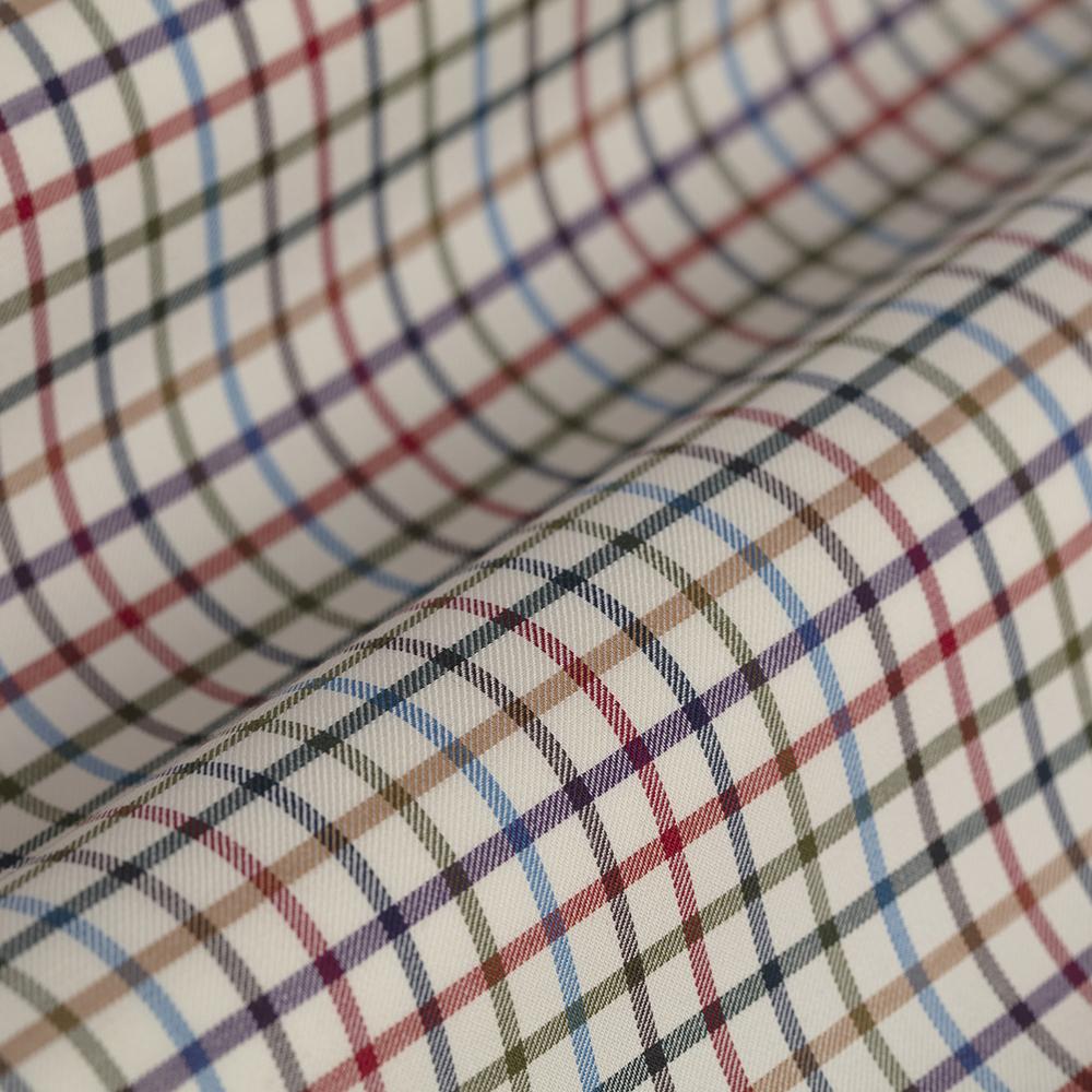 Germirli Mavi Yeşil Turuncu Kareli Tailor Fit Gömlek
