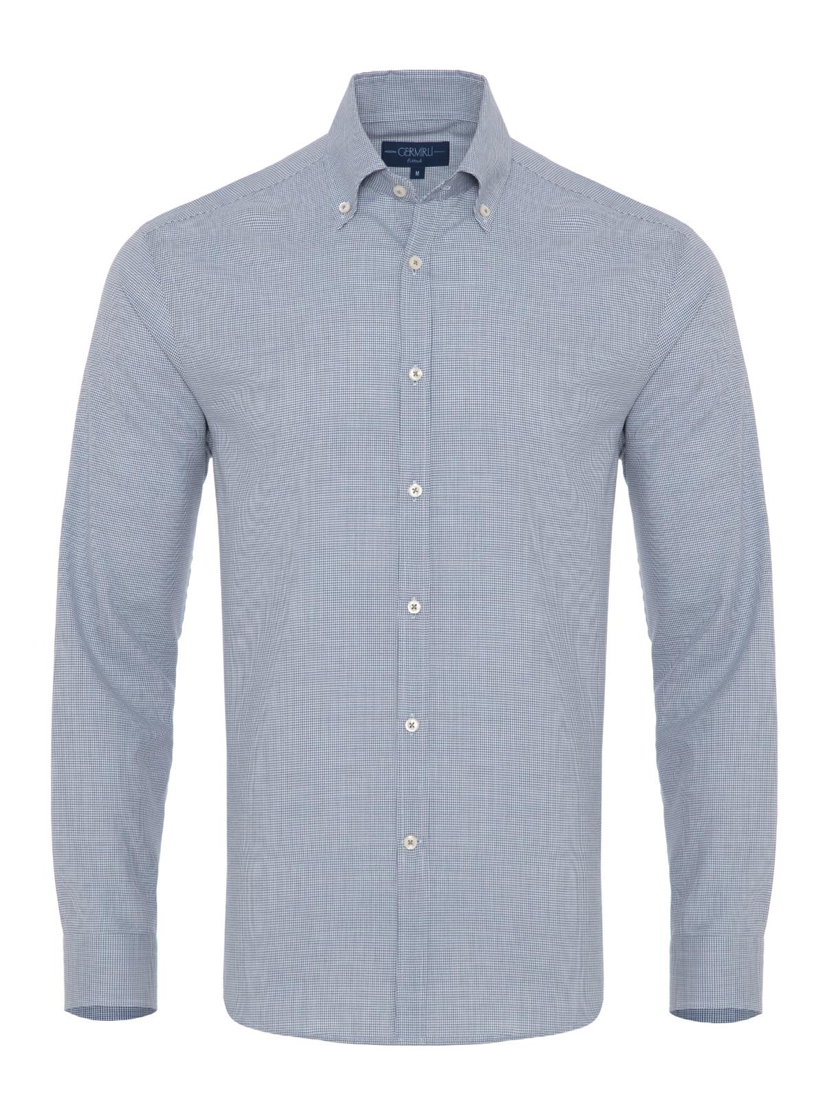Germirli - Germirli Mavi Zigzag Desenli Düğmeli Yaka Tailor Fit Gömlek